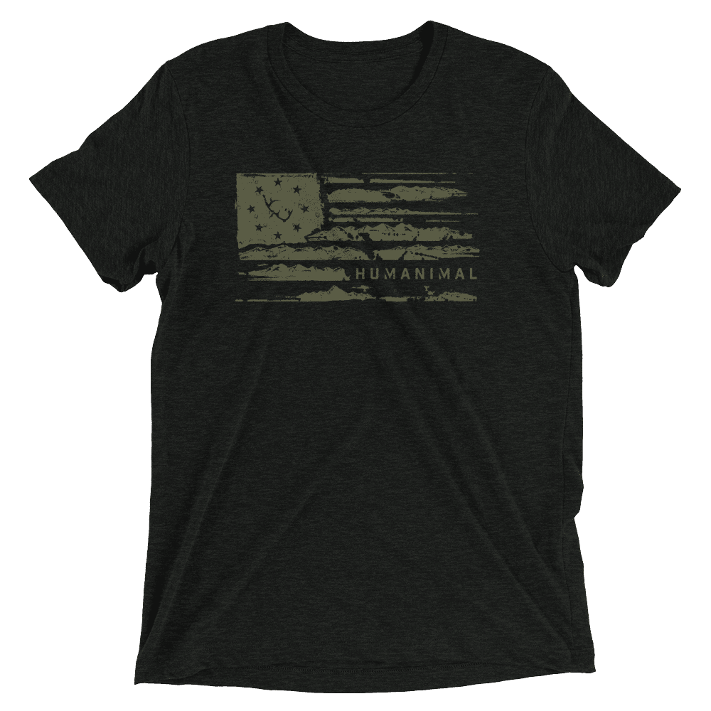 Image of 'Merica Mountain Flag Tee: Loden